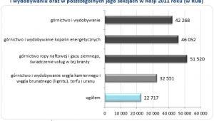 Wykres 6. Przeciętne miesięczne wynagrodzenie całkowite brutto w górnictwie i wydobywaniu oraz w poszczególnych jego sekcjach w Rosji 2011 roku (w RUB)