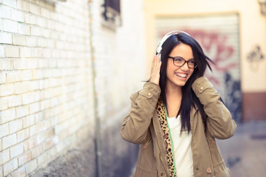 kobieta, dziewczyna, słuchawki, relaks, radość