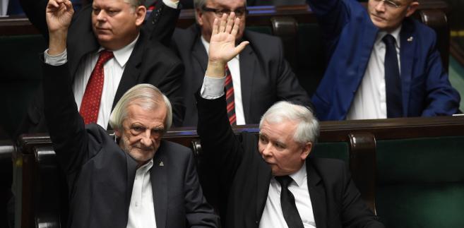 Jarosław Kaczyński i Ryszard Terlecki podczas posiedzenia Sejmu.