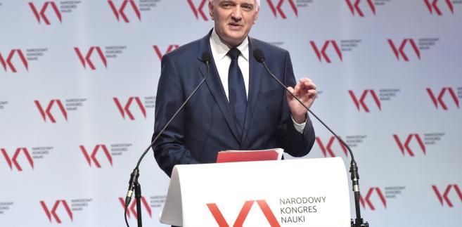 Minister nauki i szkolnictwa wyższego Jarosław Gowin podczas Narodowego Kongresu Nauki