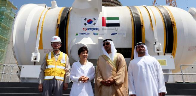 Zdjęcie archiwalne z 21 maja 2014 roku. Ceremonia, towarzysząca dostarczeniu reaktora z Korei Południowej do elektrowni Barakah