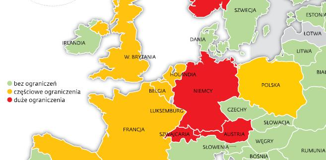 Ograniczenia w handlu w krajach europejskich
