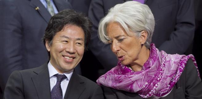 Japoński minister finansów Jun Azumi i szefowa  MFW Christine Lagarde.