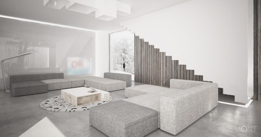 Dom modernistyczny, drewniana okladzina - projekt Ejsmont