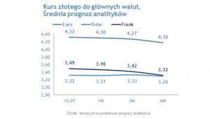 Kurs złotego do głównych walut (Źródło: Money.pl na podstawie prognoz analityków)