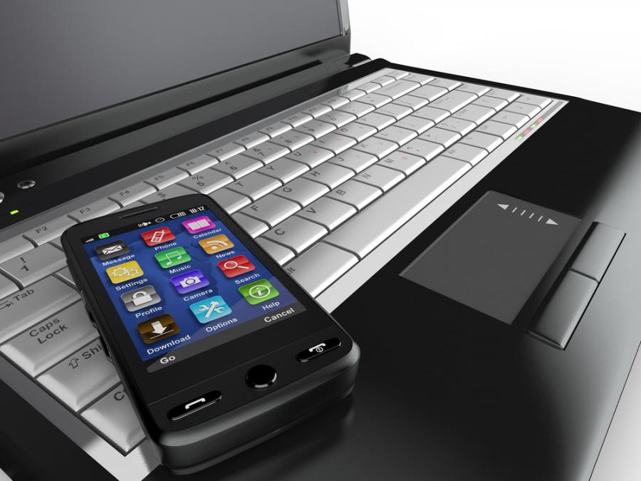telefon, komórka, smartfon, komputer, laptop