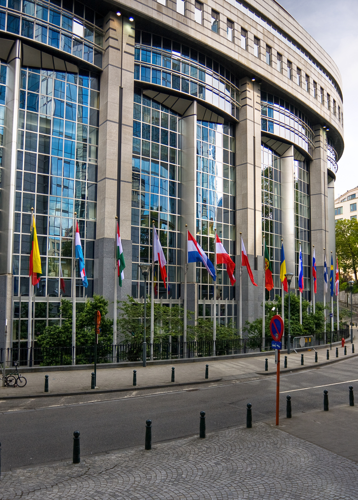 Flags in front of European Parliament towers - Brussels, Belgium