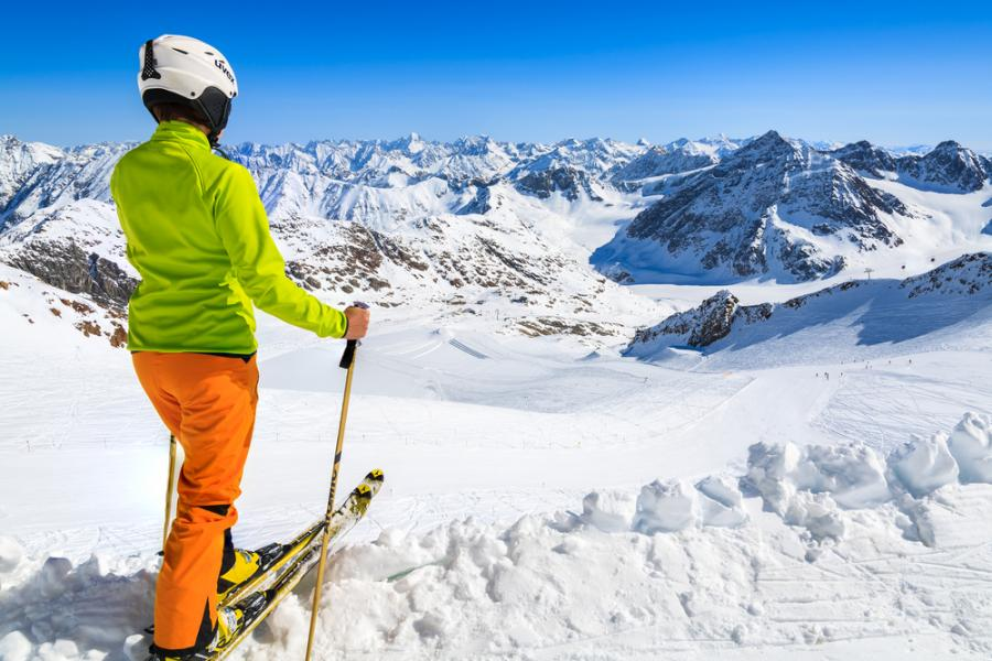 narty, Austria, zima, Pitztal