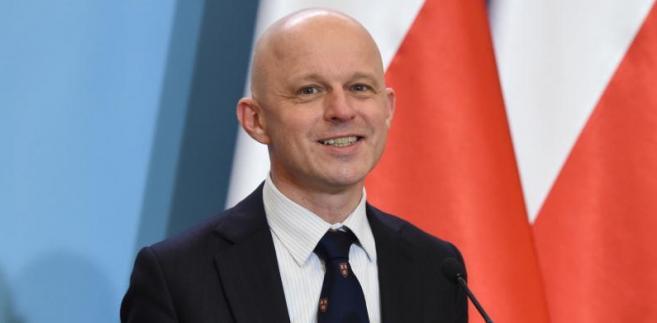 Minister finansów Paweł Szałamacha podczas konferencji prasowej w KPRM w Warszawie.