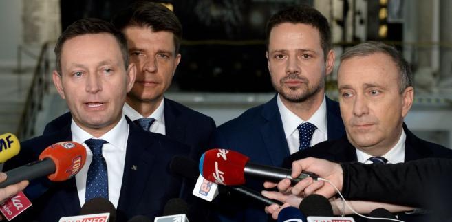 Grzegorz Schetyna, Ryszard Petru, Rafał Trzaskowski i Paweł Rabiej