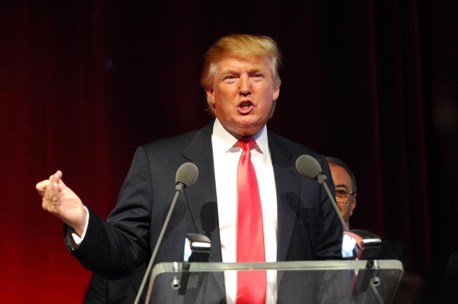 Donald Trump, miliarder z branży nieruchomości, przemawia w trakcie konferencji w Nowym Yorku.